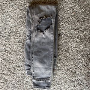 Free people gray tipped knee jeans